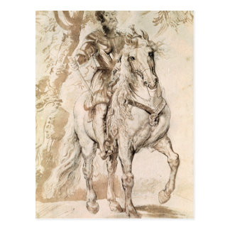 Study for an equestrian portrait postcard