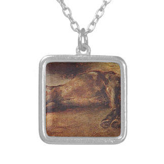 Study for Dead horse by Theodore Gericault Square Pendant Necklace