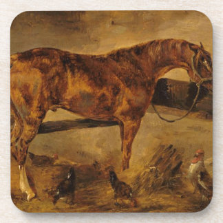 Study for Horse turned right with three hens... Coaster