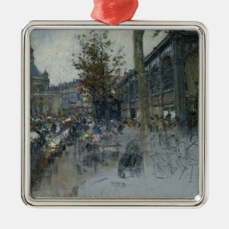 Study for Les Halles, 1893 Square Metal Christmas Ornament