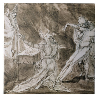 """Study for """"Saul and the Witch of Endor"""" Tile"""