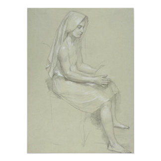Study for Seated Female Figure by Bouguereau 5.5x7.5 Paper Invitation Card