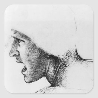 Study for the head of a soldier square sticker