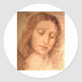 Study for the head of Jesus in The Last Supper Classic Round Sticker
