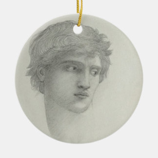 Study for the Head of Perseus (pencil on paper) Ceramic Ornament