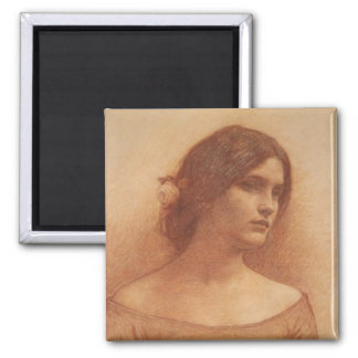 Study for The Lady Clare 2 Inch Square Magnet