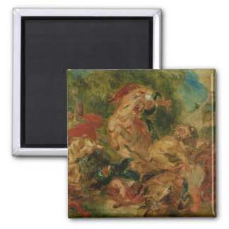 Study for The Lion Hunt, 1854 2 Inch Square Magnet