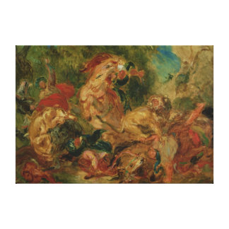 Study for The Lion Hunt, 1854 Canvas Print