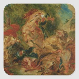 Study for The Lion Hunt, 1854 Square Sticker