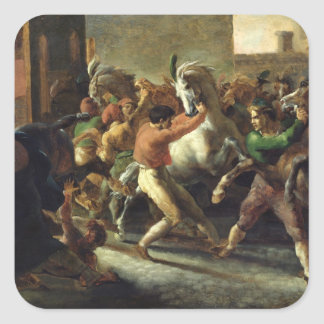 Study for the Race of the Barbarian Horses, 1817 Square Sticker