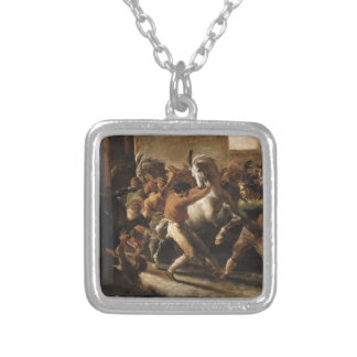 Study for the Race of the Barbarian Horses Square Pendant Necklace
