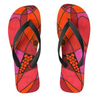 """Study in Reds"" hot color theme flip flops. Flip Flops"