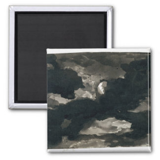 Study of a Clouded Moonlit Sky (black wash on laid 2 Inch Square Magnet