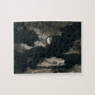 Study of a Clouded Moonlit Sky (black wash on laid Jigsaw Puzzle