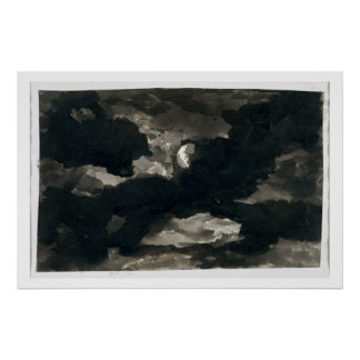 Study of a Clouded Moonlit Sky (black wash on laid Poster