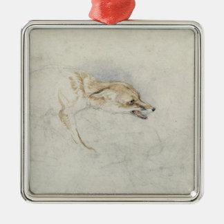 Study of a crouching Fox, facing right verso: fain Metal Ornament