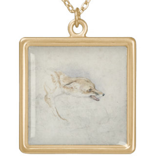 Study of a crouching Fox, facing right verso: fain Square Pendant Necklace