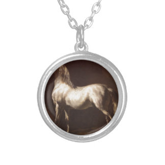Study of a Dapple Grey by Theodore Gericault Round Pendant Necklace