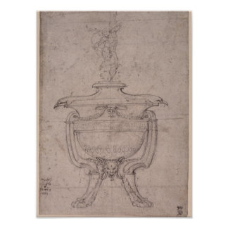 Study of a decorative urn poster