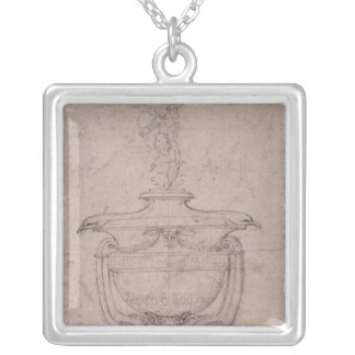 Study of a decorative urn silver plated necklace