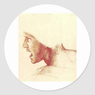 Study of a Figure for the Battle of Anghiari Classic Round Sticker