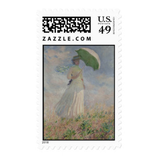 Study of a Figure Outdoors (Facing Right) Monet Postage Stamp
