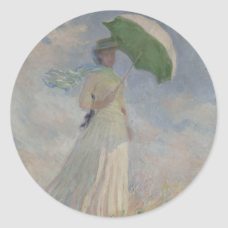 Study of a Figure Outdoors (Facing Right) Monet Round Stickers