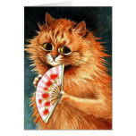 Study of a Ginger Cat - Louis Wain artwork Greeting Card