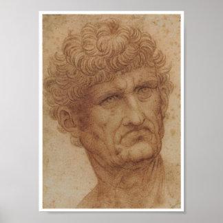 Study of a Head, Leonardo da Vinci Poster