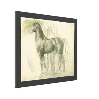 Study of a Horse with Figures by Edgar Degas Stretched Canvas Prints