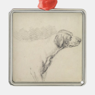 Study of a Hound, 1794 (pencil on paper) Square Metal Christmas Ornament