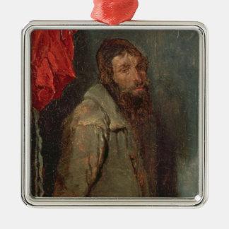 Study of a Jewish Merchant (oil on board) Metal Ornament