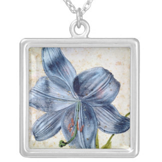 Study of a lily, 1526 square pendant necklace