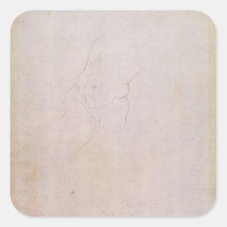 Study of a male torso square sticker