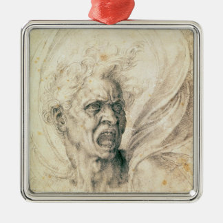 Study of a man shouting square metal christmas ornament