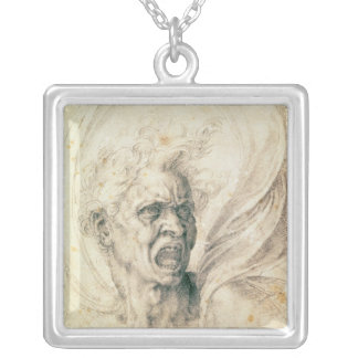 Study of a man shouting silver plated necklace