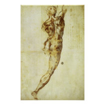 Study of a Nude for Battle of Cascina Michelangelo Print