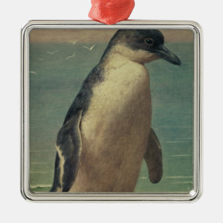 Study of a Penguin Square Metal Christmas Ornament