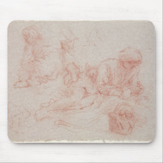 Study of a reclining man mouse pad