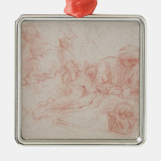 Study of a reclining man square metal christmas ornament