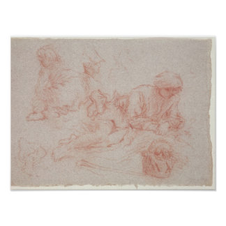 Study of a reclining man posters