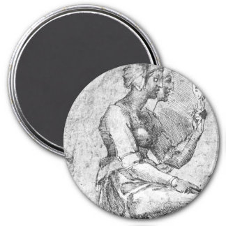 Study of a Seated Woman 3 Inch Round Magnet