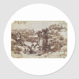 Study of a Tuscan landscape. Classic Round Sticker