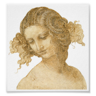 Study of a Woman's head, Leonardo da Vinci Poster
