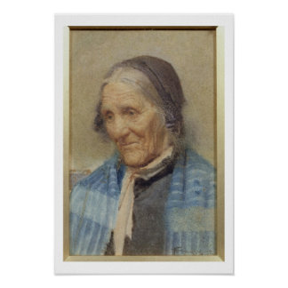 Study of an Old Woman, 1912 (w/c on paper) Poster