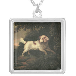 Study of Clumber Spaniel Silver Plated Necklace