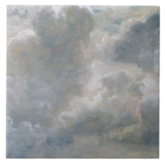 Study of Cumulus Clouds, 1822 (oil on paper laid o Large Square Tile