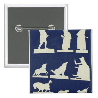 Study of Figures and Animals 2 Inch Square Button