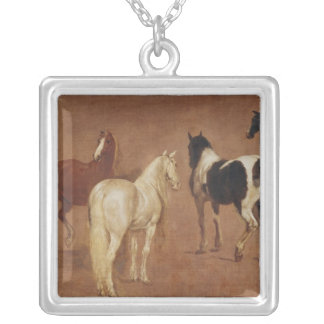 Study of Five Horses Silver Plated Necklace