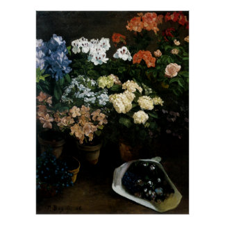 Study of Flowers by Frederic Bazille Poster